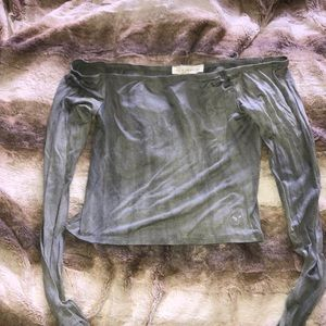 Green strapless cropped long sleeve